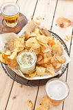 Homemade chips with dip Royalty Free Stock Image