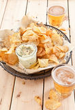 Homemade chips with dip Stock Image