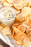 Homemade chips with dip Royalty Free Stock Images