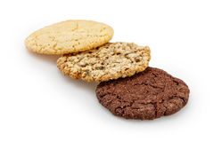 Homemade chocolate, almond and oatmeal cookies isolated on white background Royalty Free Stock Images
