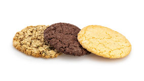 Homemade chocolate, almond and oatmeal cookies isolated on white background Stock Photo