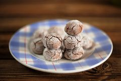 Homemade chocolate ball biscuits on a blue plate. On wooden background Royalty Free Stock Photography