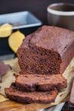 Homemade chocolate banana loaf cake Royalty Free Stock Image