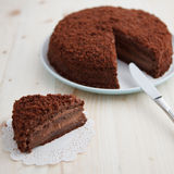 Homemade chocolate blackout cake on a wooden table Stock Photography