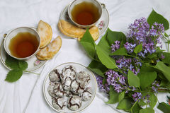 Homemade chocolate breakfast  cookies  and spring flowers. Homemade biscuit. Cup of Tea  with homemade chocolate breakfast  cookies  and spring flowers Stock Photos