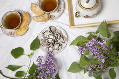 Homemade chocolate breakfast  cookies  and spring flowers. Homemade biscuit. Cup of Tea  with homemade chocolate breakfast  cookies  and spring flowers Stock Image