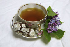 Homemade chocolate breakfast  cookies  and spring flowers. Homemade biscuit. Cup of Tea  with homemade chocolate breakfast  cookies  and spring flowers Stock Images