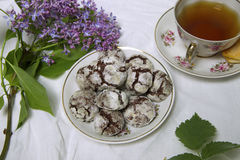 Homemade chocolate breakfast  cookies  and spring flowers. Homemade biscuit. Cup of Tea  with homemade chocolate breakfast  cookies  and spring flowers Royalty Free Stock Photos