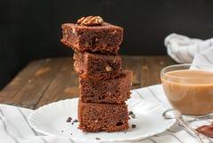 Homemade chocolate brownie cake and a glass of milk, Stock Photo