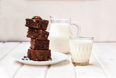 Homemade chocolate brownie cake and a glass of milk, Stock Photos
