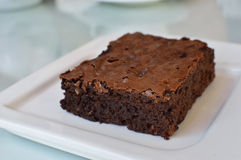 Homemade Chocolate Brownie. 0n white dish Royalty Free Stock Photos
