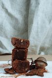 Homemade chocolate brownie with nuts Royalty Free Stock Photos