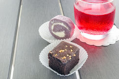 Homemade chocolate brownies or chocolate cakes  with nuts and ca Royalty Free Stock Photography