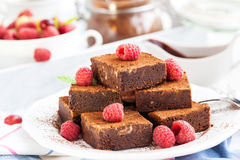 Homemade chocolate brownies Stock Photos