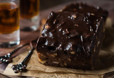 Homemade chocolate brownies with nuts and ganache Stock Image