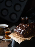 Homemade chocolate brownies with nuts and ganache Stock Images
