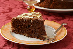 Homemade chocolate cake with almond Royalty Free Stock Photos