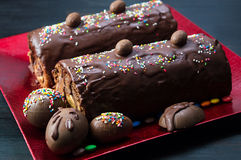Homemade chocolate cake with candy eggs Stock Photo