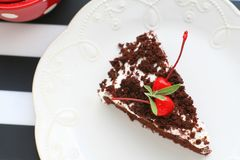 Homemade chocolate cake with cherry. For a good and yummy teatime Royalty Free Stock Image