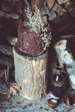 Homemade Chocolate Cake with Coconut Flakes and Dried Flower Decoration on a Log Royalty Free Stock Photo