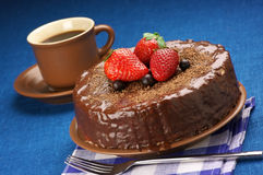 Homemade chocolate cake and coffee Stock Image