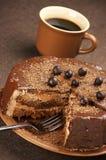 Homemade chocolate cake and coffee Stock Photography