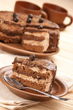 Homemade chocolate cake and coffee Royalty Free Stock Images