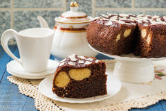 Homemade chocolate cake with curd-coconut balls Royalty Free Stock Images