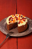 Homemade chocolate cake with fresh cranberries, sea-buckthorn an Royalty Free Stock Photos