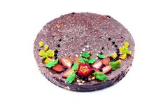Homemade chocolate cake with fruits