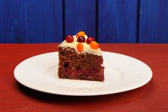 Homemade chocolate cake with icing and fresh sea-buckthorn and c Stock Photo