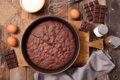 Homemade chocolate cake. And ingredient Stock Images