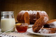 Homemade chocolate Cake, jam and milk Stock Photo