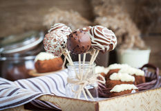 Homemade chocolate cake pops Royalty Free Stock Images