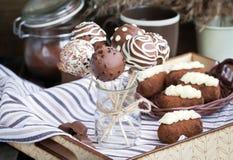Homemade chocolate cake pops Stock Photo