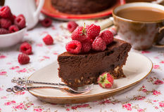 Homemade chocolate cake with raspberry Stock Photos