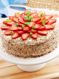 Homemade chocolate cake with strawberries Royalty Free Stock Image