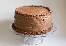 Homemade Chocolate Cake. A homemade, two layered, chocolate cake covered in chocolate buttercream icing Royalty Free Stock Images