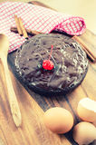 Homemade chocolate cake. Vintage style. Royalty Free Stock Images