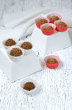 Homemade chocolate candies. On table Royalty Free Stock Image
