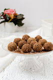 Homemade chocolate candies. Chocolate candies on a cake stand Royalty Free Stock Images