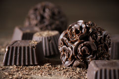 Homemade chocolate candies Royalty Free Stock Images