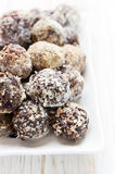 Homemade chocolate candy with nuts and waffles flakes Royalty Free Stock Photography