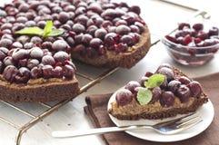 Homemade chocolate cherry pie Stock Photo