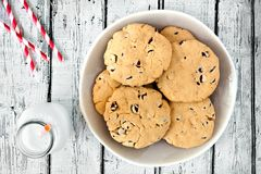 Homemade chocolate chip cookies and milk on rustic white wood Royalty Free Stock Photos