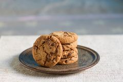 Homemade chocolate chip cookies. On vintage plate Royalty Free Stock Photography