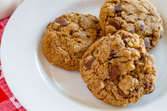 Homemade Chocolate Chip Cookies with Walnuts Royalty Free Stock Images