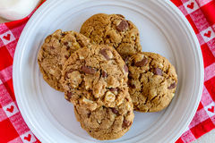 Homemade Chocolate Chip Cookies with Walnuts Stock Photo