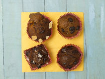 Homemade Chocolate Chip Muffins, close-up Royalty Free Stock Photo