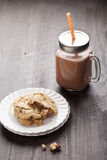 Homemade chocolate chip oatmeal cookies with hot chocolate Royalty Free Stock Image
